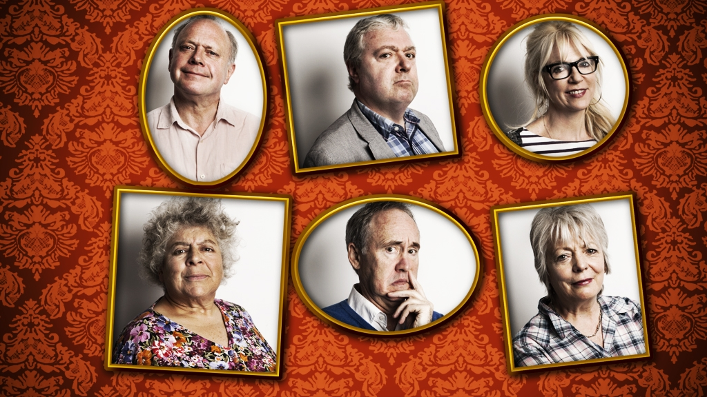 The cast of Gloomsbury. Clockwise from top left: Jonathan Coy, John Sessions, Morwenna Banks, Alison Steadman, Nigel Planer and Miriam Margolyes.