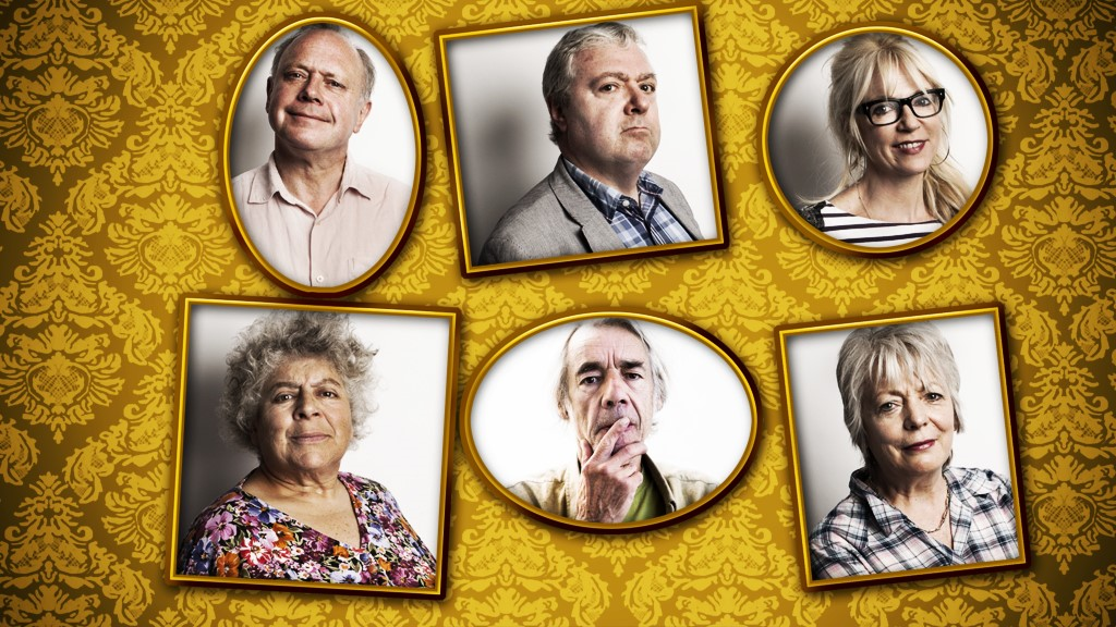 The cast of Gloomsbury II. Clockwise from top left: Jonathan Coy, John Sessions, Morwenna Banks, Alison Steadman, Roger Lloyd Pack and Miriam Margolyes.