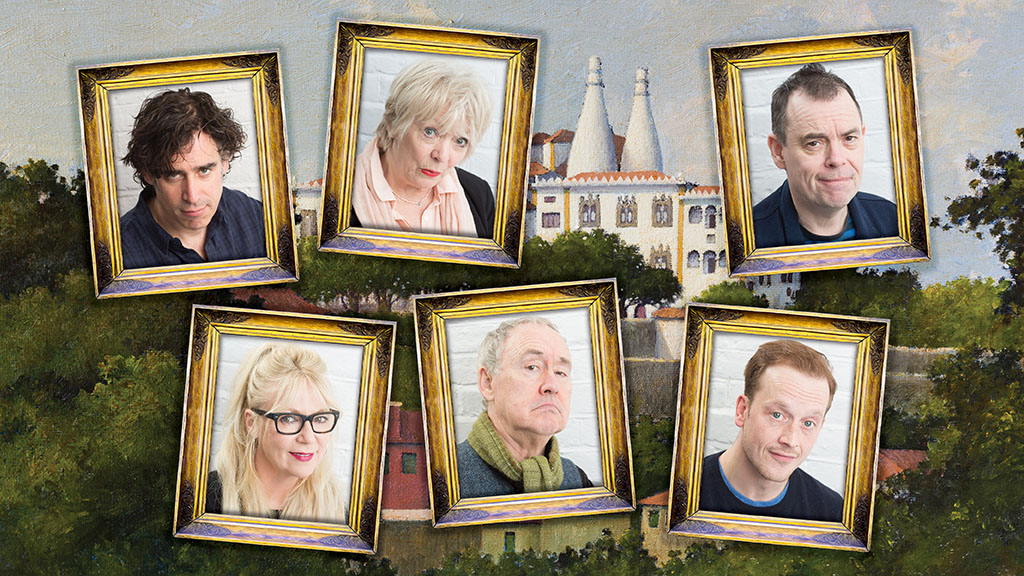 The cast of Byron and the Curse of Sintra. Clockwise from top left: Stephen Mangan, Alison Steadman, Kevin Eldon, Jolyon Coy, Nigel Planer, Morwenna Banks.